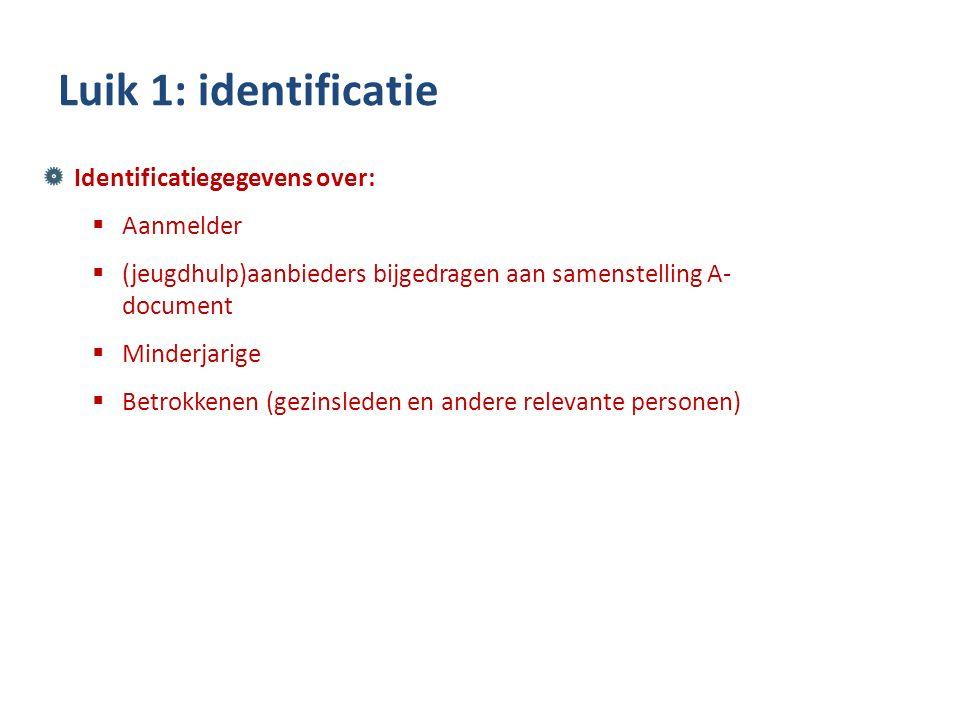 Identificatiegegevens over:  Aanmelder  (jeugdhulp)aanbieders bijgedragen aan samenstelling A- document  Minderjarige  Betrokkenen (gezinsleden en andere relevante personen) Luik 1: identificatie