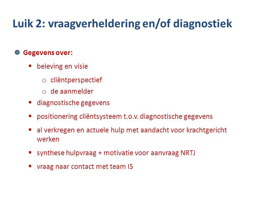 Gegevens over:  beleving en visie o cliëntperspectief o de aanmelder  diagnostische gegevens  positionering cliëntsysteem t.o.v.