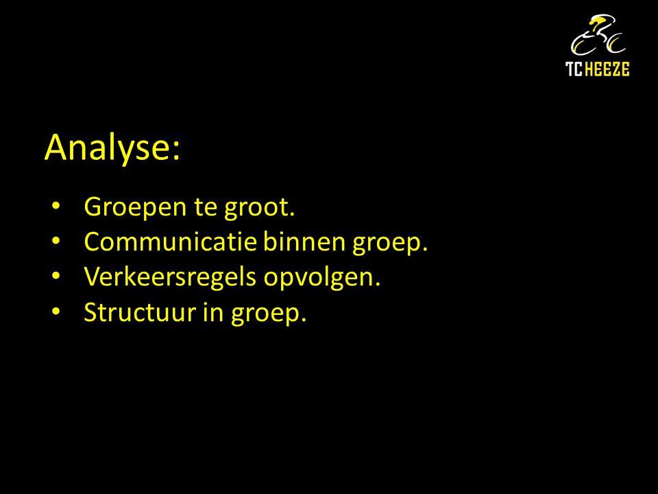 Analyse: Groepen te groot. Communicatie binnen groep. Verkeersregels opvolgen. Structuur in groep.