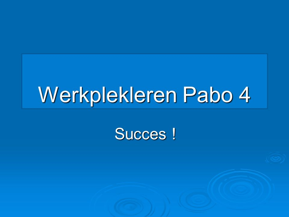 Werkplekleren Pabo 4 Succes !