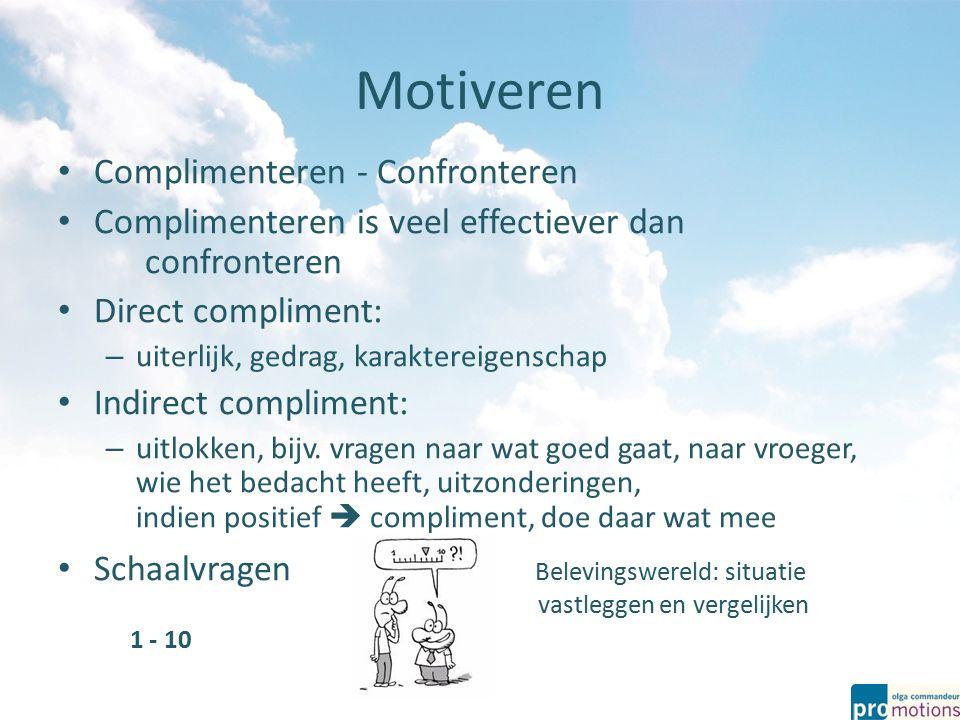 Motiveren Complimenteren - Confronteren Complimenteren is veel effectiever dan confronteren Direct compliment: – uiterlijk, gedrag, karaktereigenschap Indirect compliment: – uitlokken, bijv.