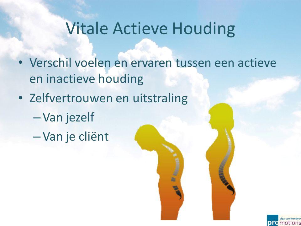 Vitale Actieve Houding Verschil voelen en ervaren tussen een actieve en inactieve houding Zelfvertrouwen en uitstraling – Van jezelf – Van je cliënt