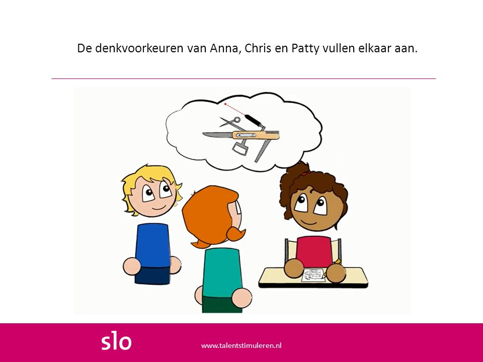 De denkvoorkeuren van Anna, Chris en Patty vullen elkaar aan. www.talentstimuleren.nl
