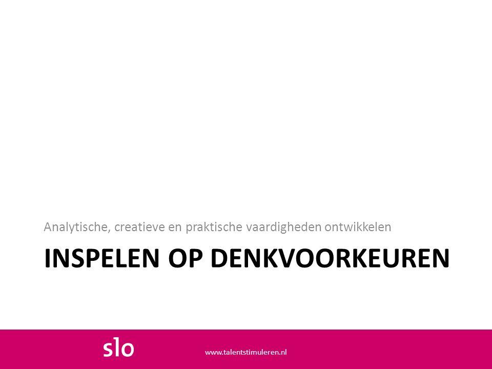 INSPELEN OP DENKVOORKEUREN Analytische, creatieve en praktische vaardigheden ontwikkelen www.talentstimuleren.nl