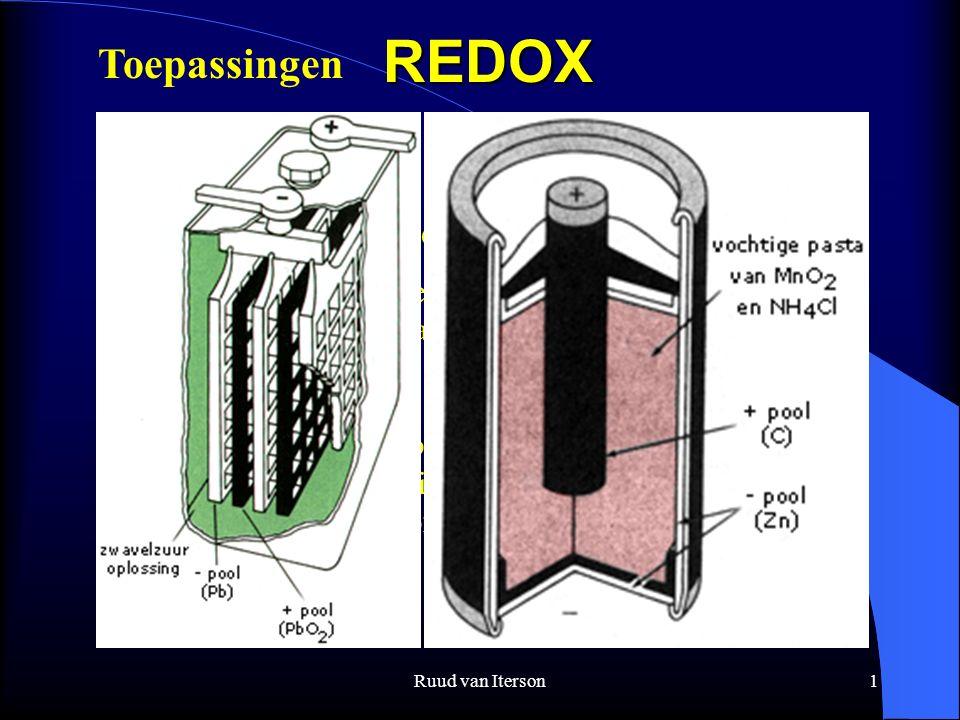 Ruud van Iterson1REDOX Wat is redox ? Tegelijkertijd reductie oxidatie reactie Met overdracht van elektronen ; het oxidatiegetal verandert. Oxideren v