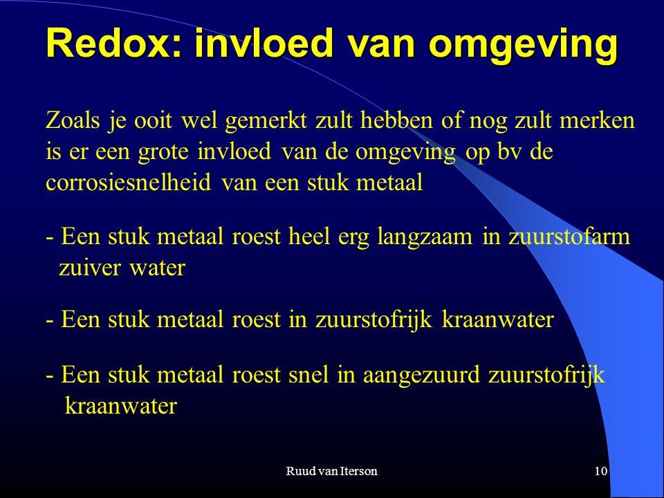 Ruud van Iterson10 Redox: invloed van omgeving Zoals je ooit wel gemerkt zult hebben of nog zult merken is er een grote invloed van de omgeving op bv