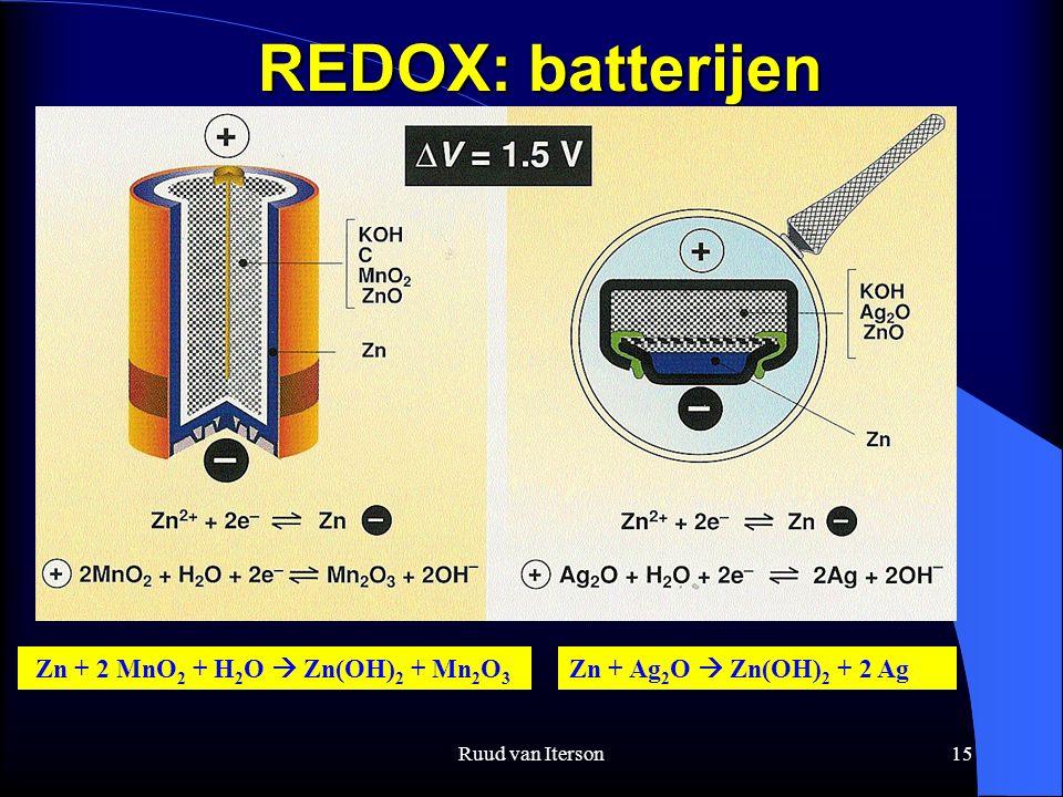 Ruud van Iterson15 REDOX: batterijen Zn + 2 MnO 2 + H 2 O  Zn(OH) 2 + Mn 2 O 3 Zn + Ag 2 O  Zn(OH) 2 + 2 Ag