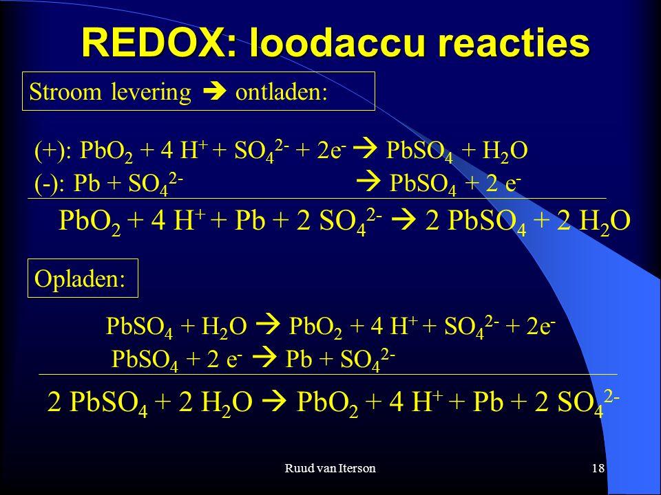 Ruud van Iterson18 REDOX: loodaccu reacties Stroom levering  ontladen: Opladen: (+): PbO 2 + 4 H + + SO 4 2- + 2e -  PbSO 4 + H 2 O (-): Pb + SO 4 2-  PbSO 4 + 2 e - PbO 2 + 4 H + + Pb + 2 SO 4 2-  2 PbSO 4 + 2 H 2 O PbSO 4 + H 2 O  PbO 2 + 4 H + + SO 4 2- + 2e - PbSO 4 + 2 e -  Pb + SO 4 2- 2 PbSO 4 + 2 H 2 O  PbO 2 + 4 H + + Pb + 2 SO 4 2-