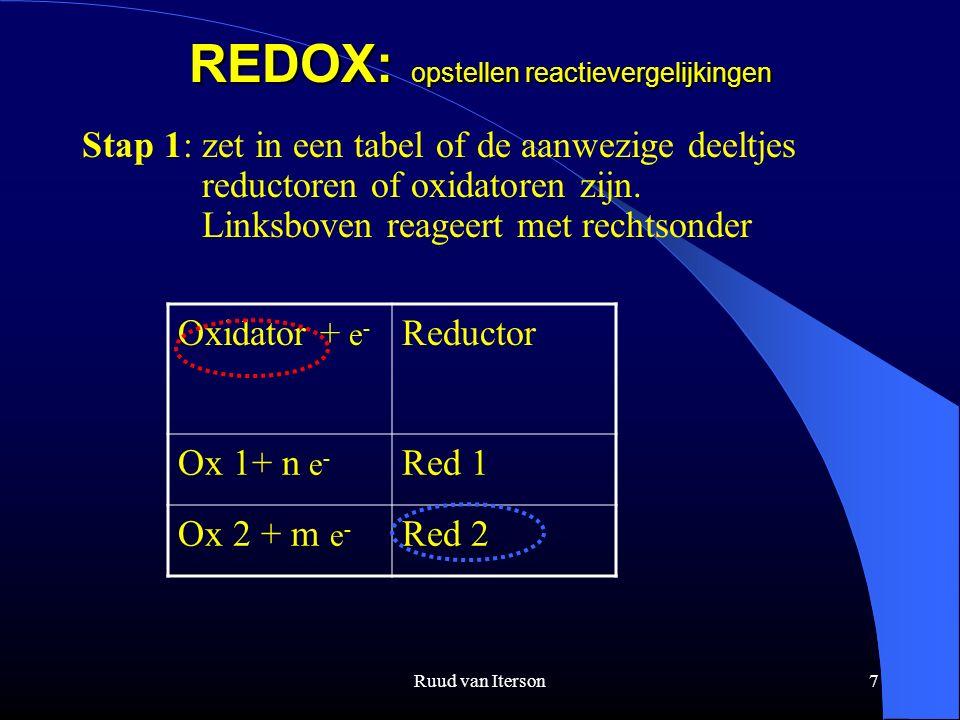 Ruud van Iterson7 REDOX: opstellen reactievergelijkingen Stap 1: zet in een tabel of de aanwezige deeltjes reductoren of oxidatoren zijn. Linksboven r
