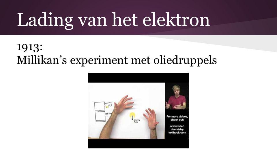 Lading van het elektron 1913: Millikan's experiment met oliedruppels
