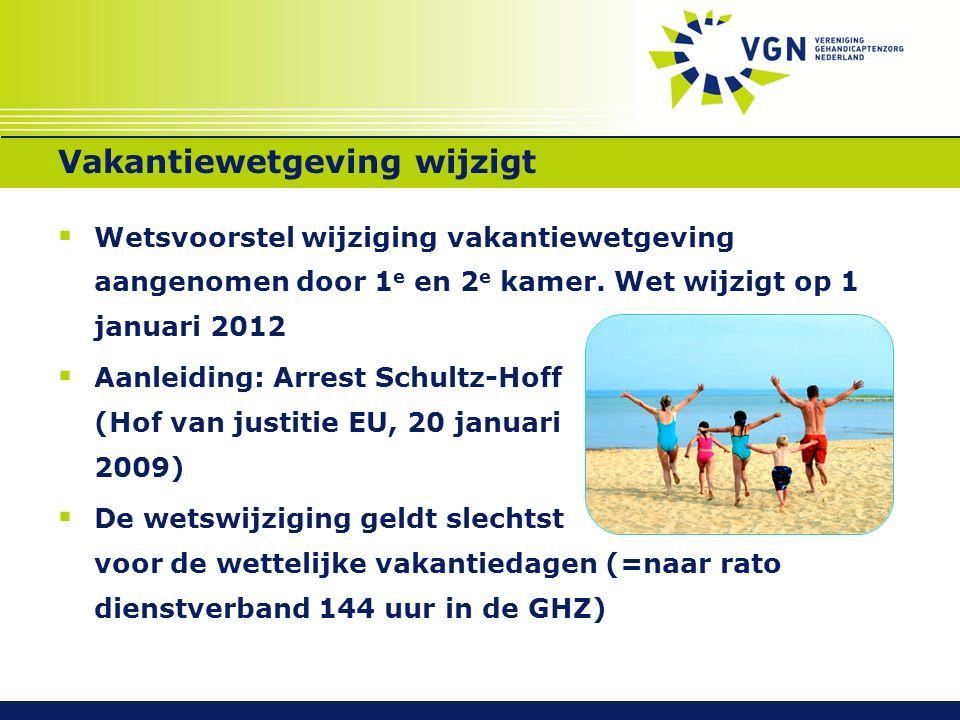 Vakantiewetgeving wijzigt  Wetsvoorstel wijziging vakantiewetgeving aangenomen door 1 e en 2 e kamer. Wet wijzigt op 1 januari 2012  Aanleiding: Arr