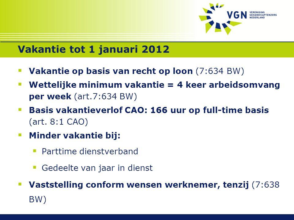 Vakantie tot 1 januari 2012  Vakantie op basis van recht op loon (7:634 BW)  Wettelijke minimum vakantie = 4 keer arbeidsomvang per week (art.7:634