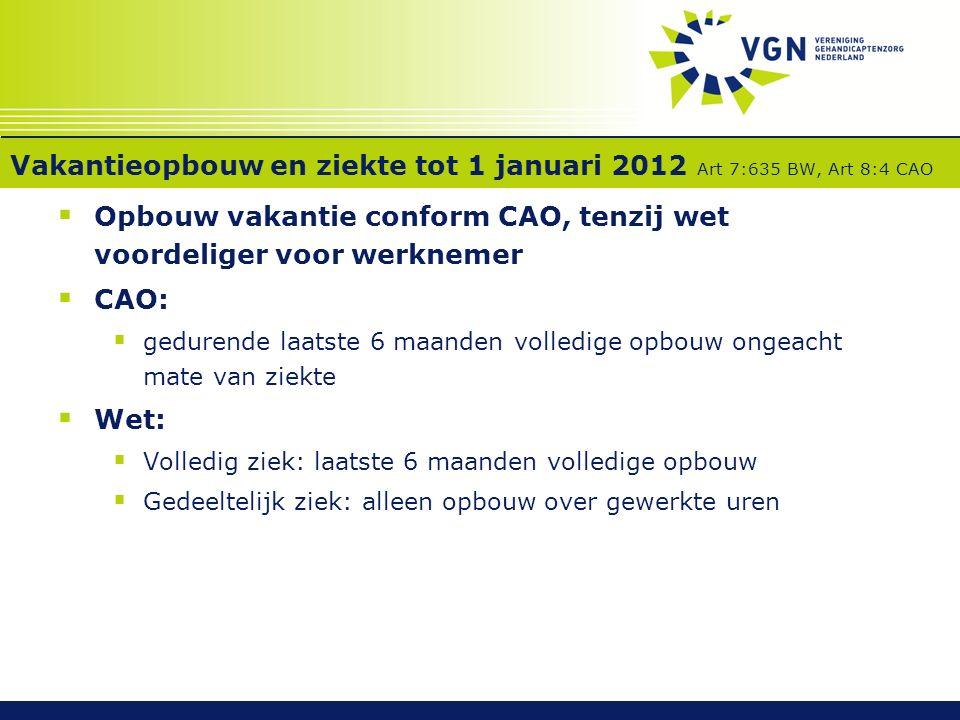 Vakantieopbouw en ziekte tot 1 januari 2012 Art 7:635 BW, Art 8:4 CAO  Opbouw vakantie conform CAO, tenzij wet voordeliger voor werknemer  CAO:  ge