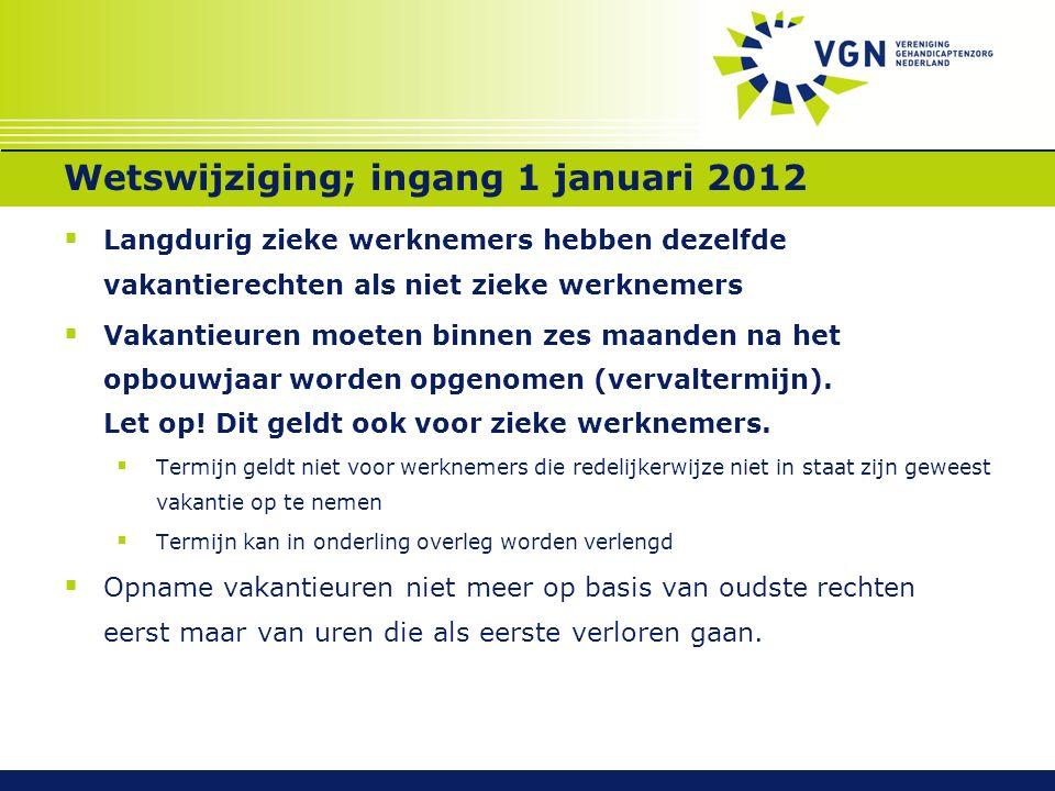 Wetswijziging; ingang 1 januari 2012  Langdurig zieke werknemers hebben dezelfde vakantierechten als niet zieke werknemers  Vakantieuren moeten binnen zes maanden na het opbouwjaar worden opgenomen (vervaltermijn).