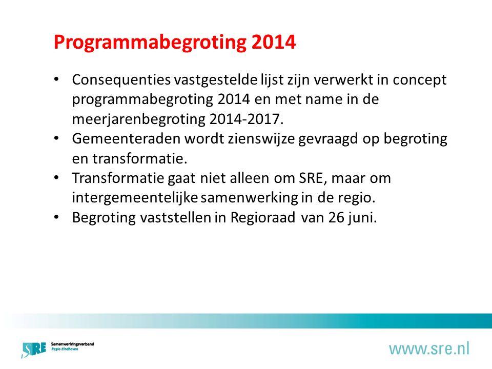 Programmabegroting 2014 Consequenties vastgestelde lijst zijn verwerkt in concept programmabegroting 2014 en met name in de meerjarenbegroting 2014-2017.