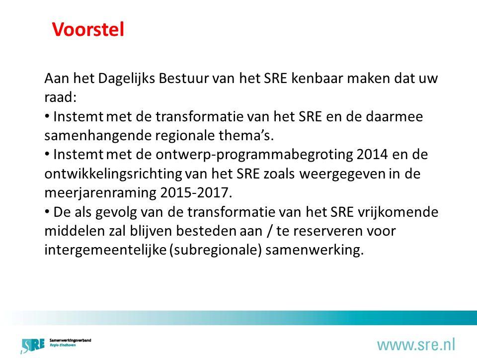 Voorstel Aan het Dagelijks Bestuur van het SRE kenbaar maken dat uw raad: Instemt met de transformatie van het SRE en de daarmee samenhangende regionale thema's.