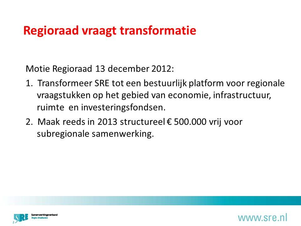 Regioraad vraagt transformatie Motie Regioraad 13 december 2012: 1.