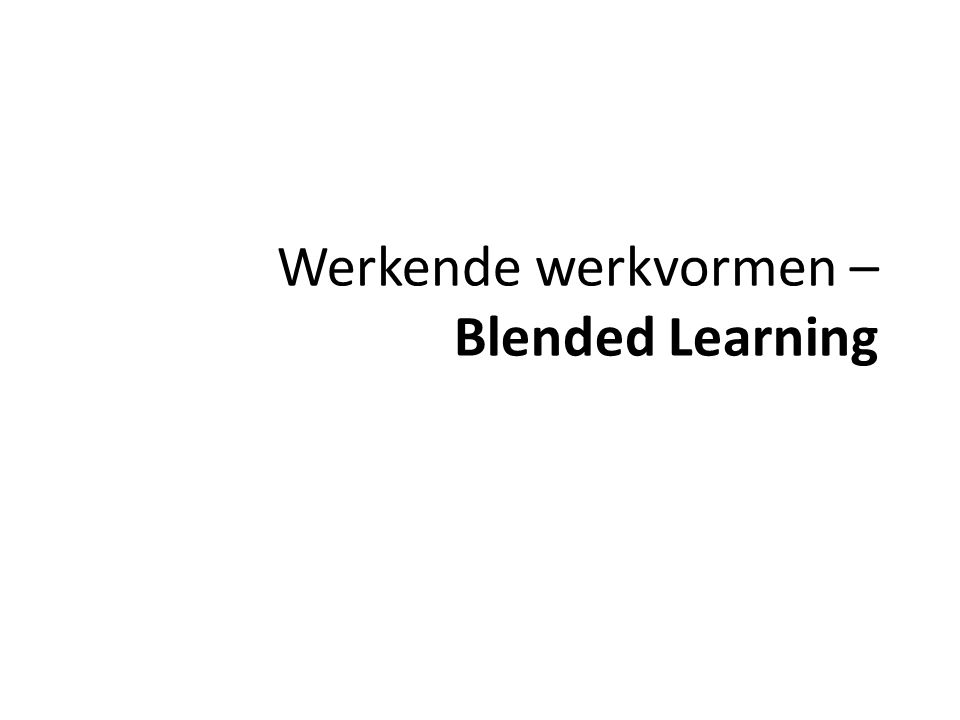 Het concept leren kennen Individualiserende werkvormen: WERKVORMEN: Zelfstudie, opdrachten, self assessment ONDERWIJSDOELEN: zelfstandigheid, verant- woordelijkheid, reflectievermogen, … LEERACTIVITEITEN: gericht op het bereiken van cognitieve doelen, reflecteren, linken, … MEDIUM: Medestudenten, artikels, handboek, blogs, wiki, serious games, digitale simulaties … BLENDED LEARNING Definiëren Rol van media en technologie OPBOUW van een OPO Informeren over en aanzetten tot leren.
