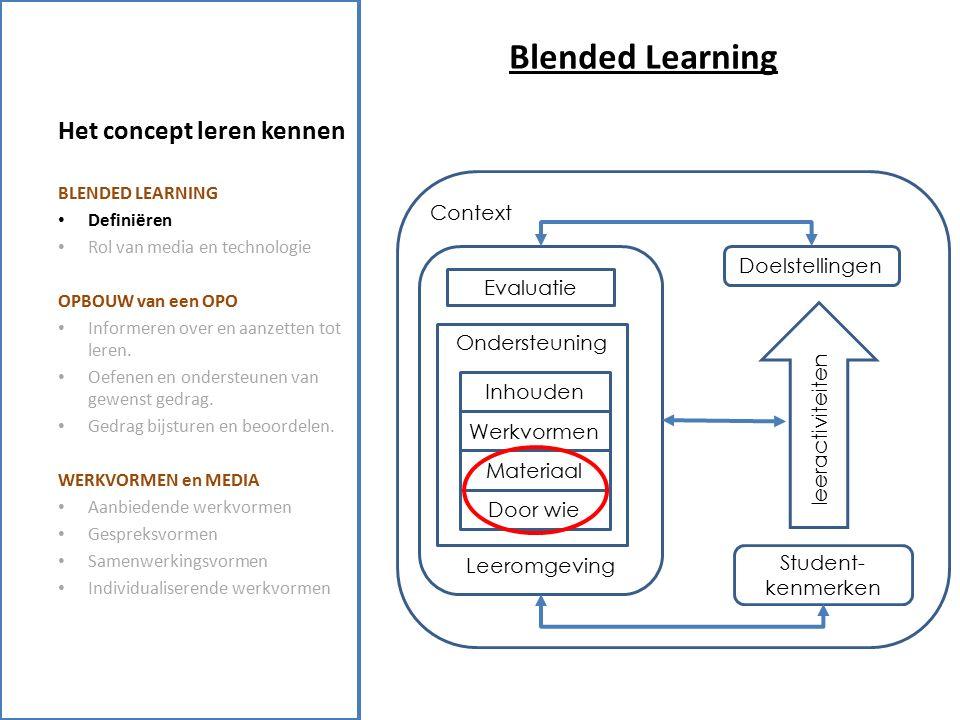 Het concept leren kennen Blended Learning: Rol van media en technologie Alles is bijna met alles mogelijk… (Dillemans et al., 1998) (Elen, 2000) BLENDED LEARNING Definiëren Rol van media en technologie OPBOUW van een OPO Informeren over en aanzetten tot leren.
