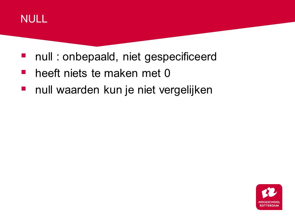 Definitie van database structuur: constraints  DOEL : integriteit van de database  HOE : definitie van constraints  domein (datatype) en 'CHECK' statement  Bijv.: CREATE TABLE PATIENT (....., GESLACHT char(1) NOT NULL CHECK( GESLACHT IN ('M','V')) );