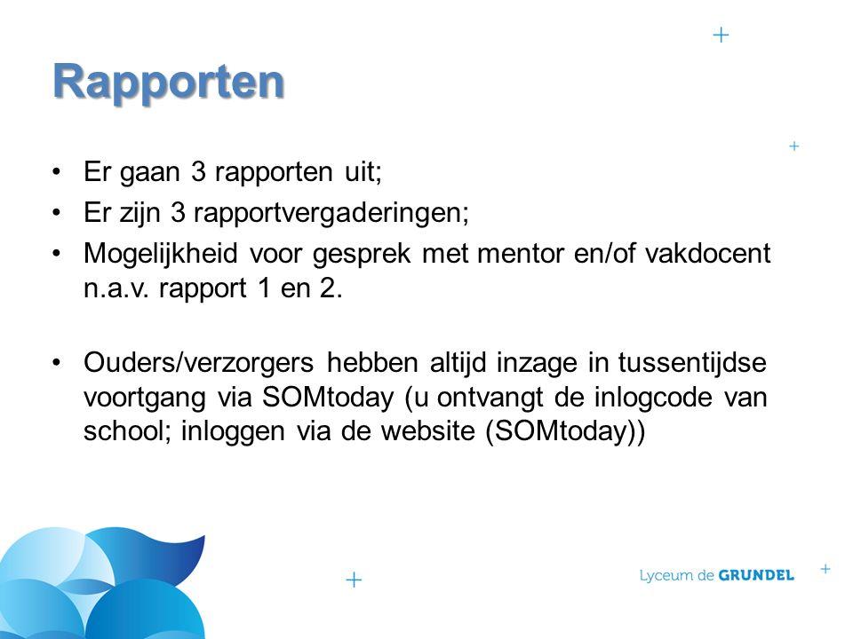 Er gaan 3 rapporten uit; Er zijn 3 rapportvergaderingen; Mogelijkheid voor gesprek met mentor en/of vakdocent n.a.v. rapport 1 en 2. Ouders/verzorgers