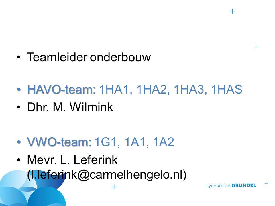 Teamleider onderbouw HAVO-team:HAVO-team: 1HA1, 1HA2, 1HA3, 1HAS Dhr. M. Wilmink VWO-team:VWO-team: 1G1, 1A1, 1A2 Mevr. L. Leferink (l.leferink@carmel