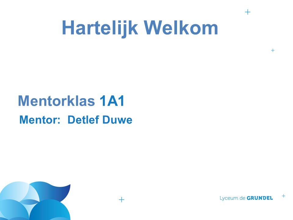 Hartelijk Welkom Mentorklas 1A1 Mentor: Detlef Duwe