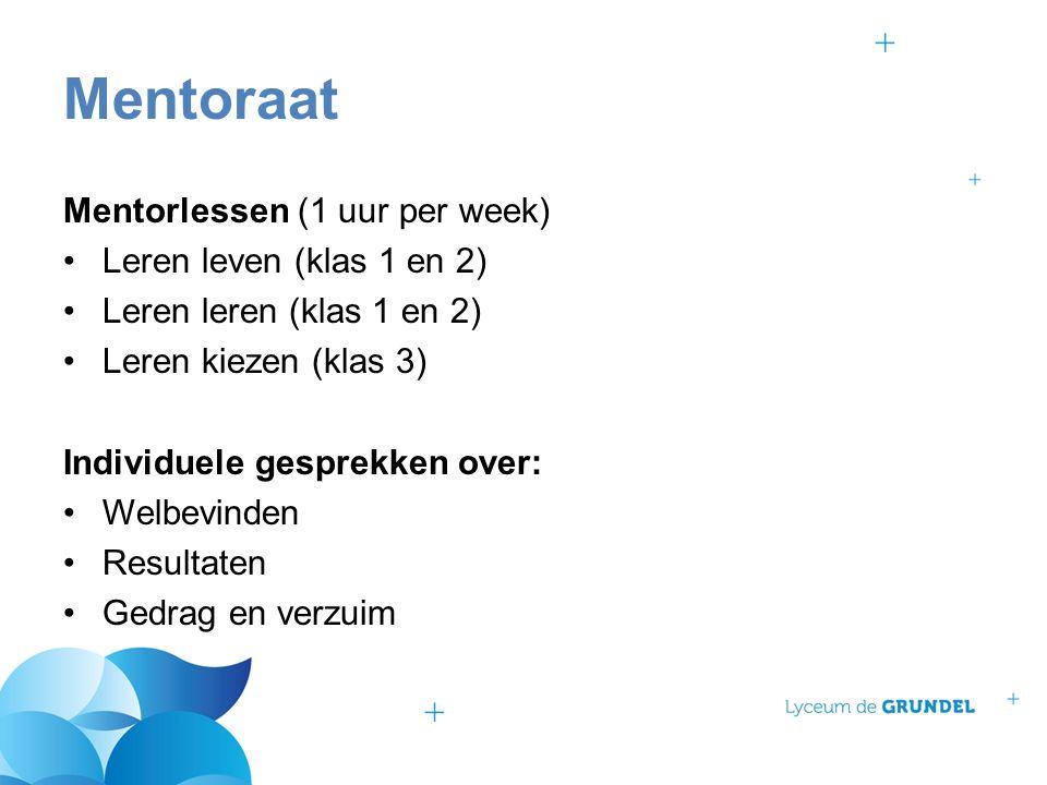 Mentorlessen (1 uur per week) Leren leven (klas 1 en 2) Leren leren (klas 1 en 2) Leren kiezen (klas 3) Individuele gesprekken over: Welbevinden Resul
