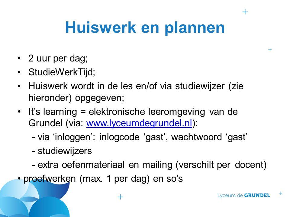 Huiswerk en plannen 2 uur per dag; StudieWerkTijd; Huiswerk wordt in de les en/of via studiewijzer (zie hieronder) opgegeven; It's learning = elektron
