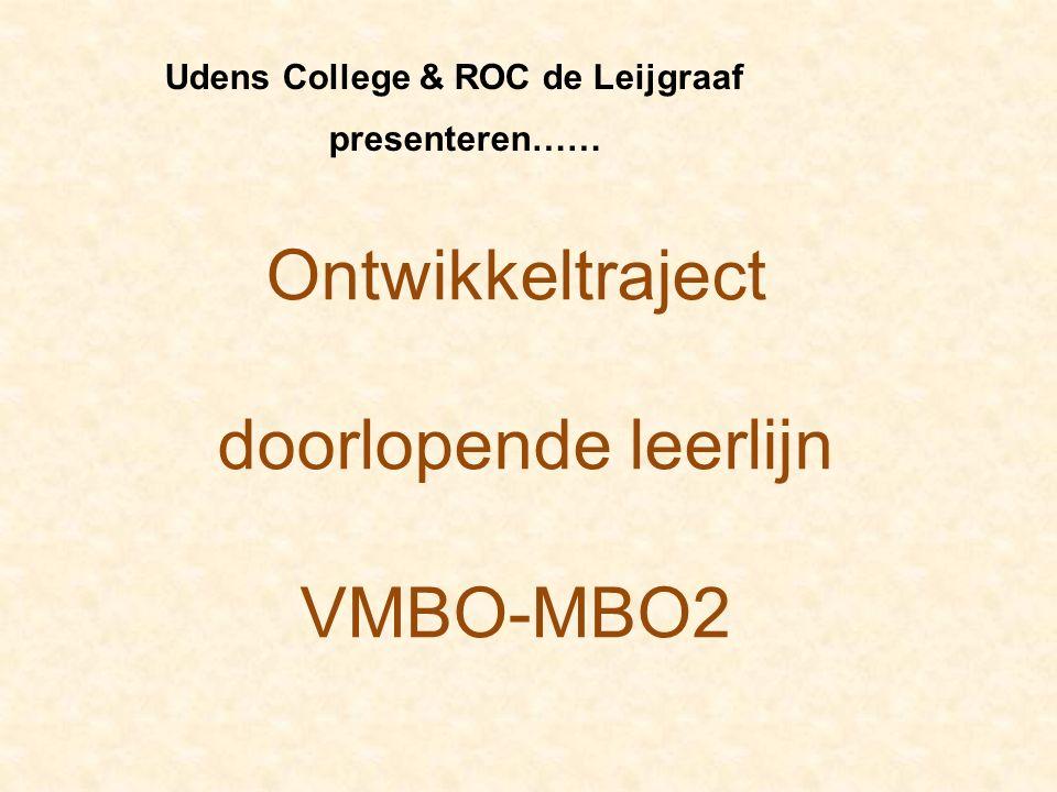Ontwikkeltraject doorlopende leerlijn VMBO-MBO2 Udens College & ROC de Leijgraaf presenteren……