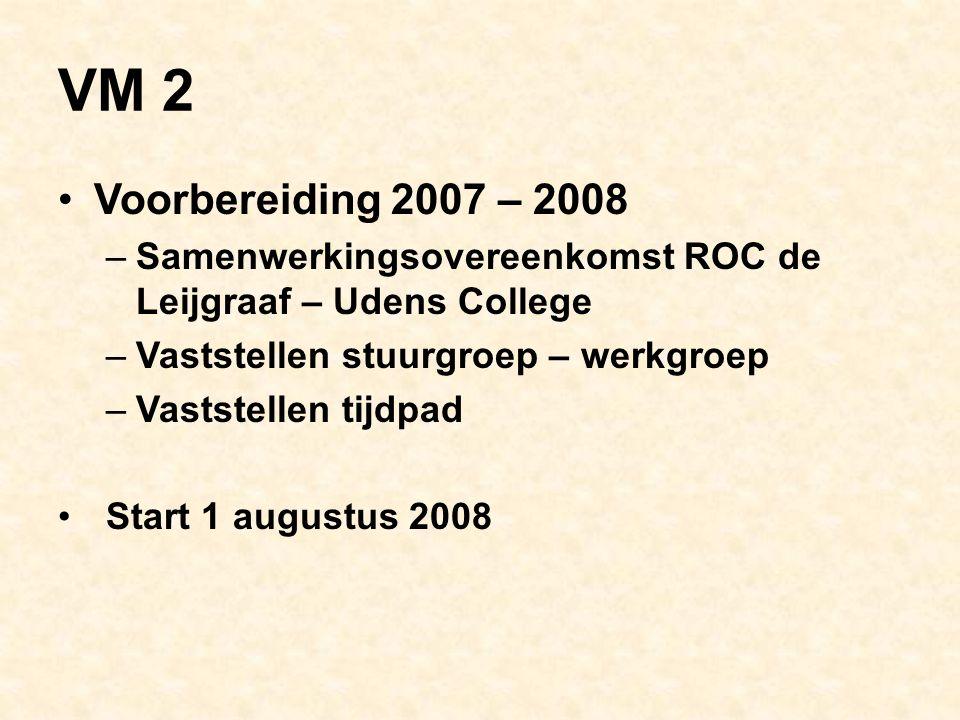 VM 2 Voorbereiding 2007 – 2008 –Samenwerkingsovereenkomst ROC de Leijgraaf – Udens College –Vaststellen stuurgroep – werkgroep –Vaststellen tijdpad Start 1 augustus 2008