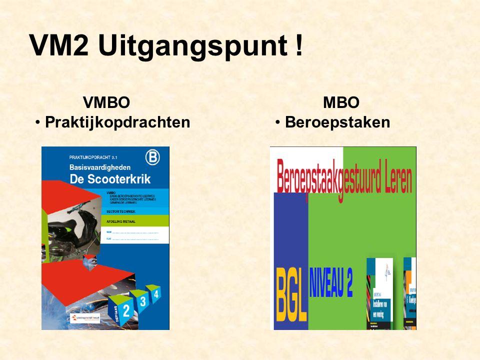 VM2 Uitgangspunt ! VMBO Praktijkopdrachten MBO Beroepstaken
