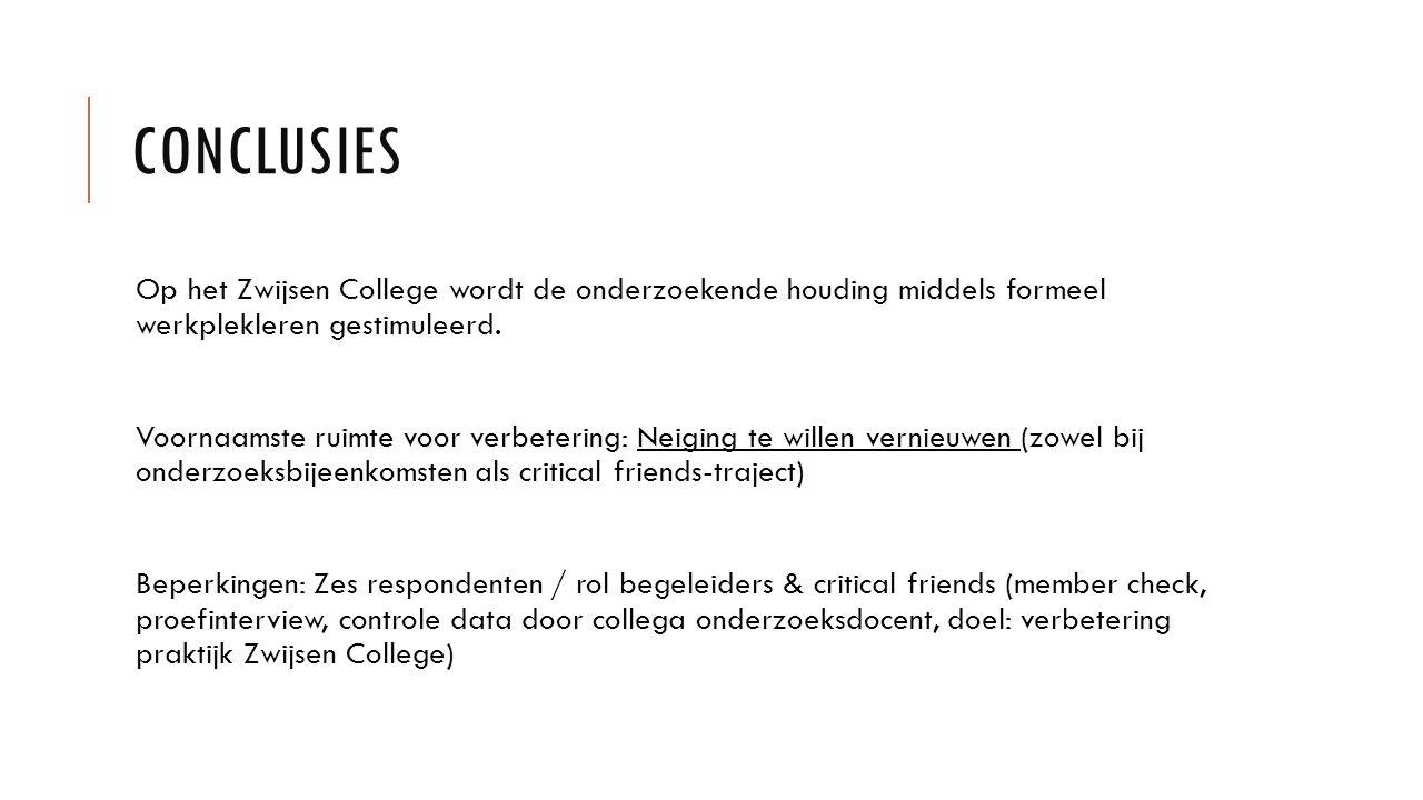 CONCLUSIES Op het Zwijsen College wordt de onderzoekende houding middels formeel werkplekleren gestimuleerd. Voornaamste ruimte voor verbetering: Neig