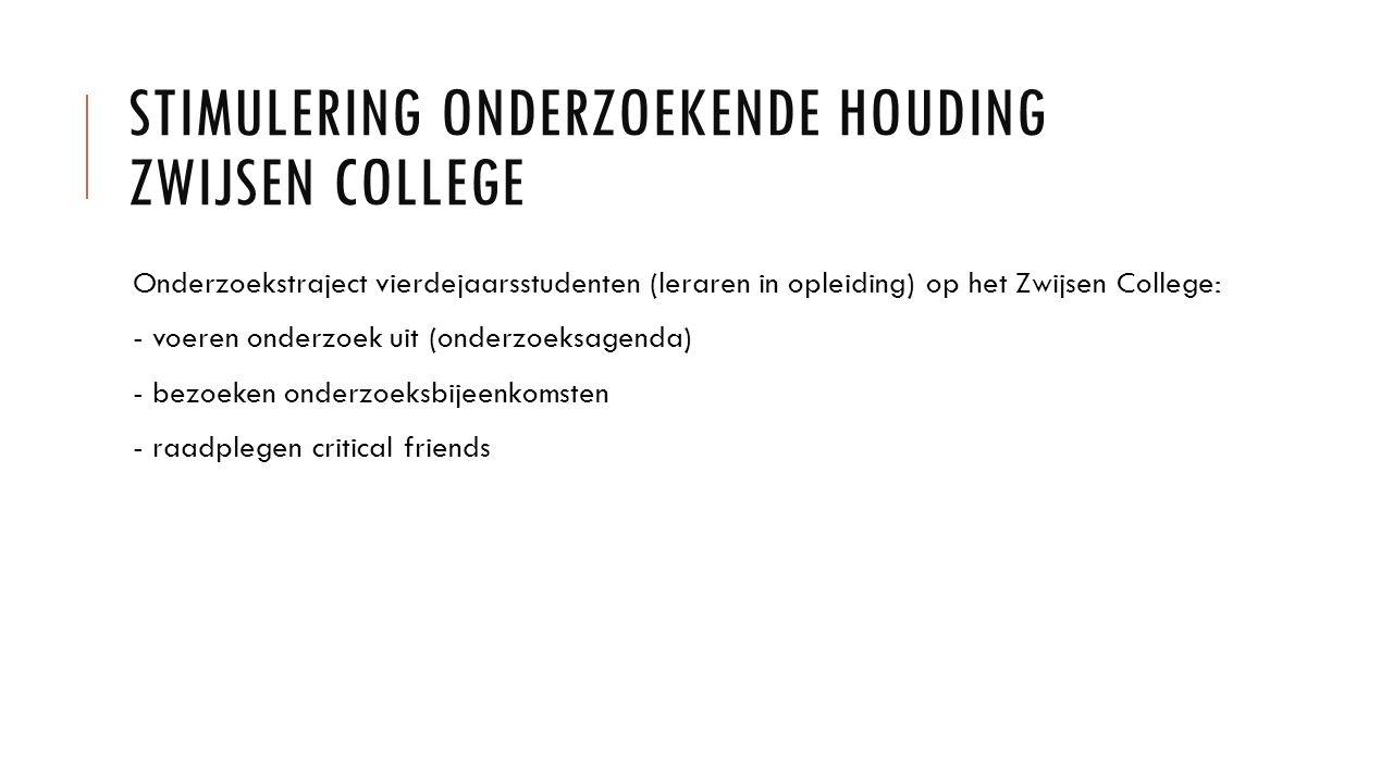 STIMULERING ONDERZOEKENDE HOUDING ZWIJSEN COLLEGE Onderzoekstraject vierdejaarsstudenten (leraren in opleiding) op het Zwijsen College: - voeren onderzoek uit (onderzoeksagenda) - bezoeken onderzoeksbijeenkomsten - raadplegen critical friends