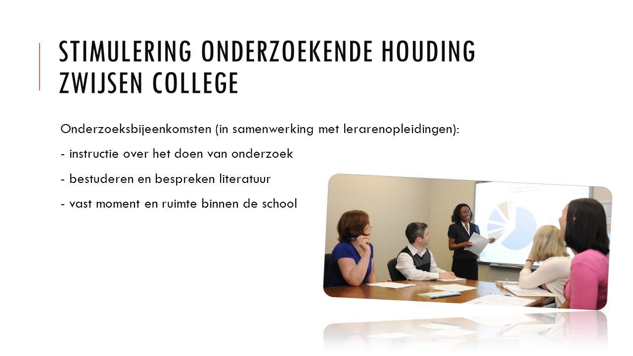 STIMULERING ONDERZOEKENDE HOUDING ZWIJSEN COLLEGE Onderzoeksbijeenkomsten (in samenwerking met lerarenopleidingen): - instructie over het doen van ond