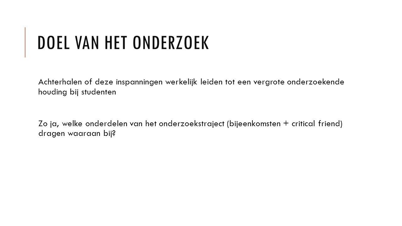 CONCLUSIES Op het Zwijsen College wordt de onderzoekende houding middels formeel werkplekleren gestimuleerd.
