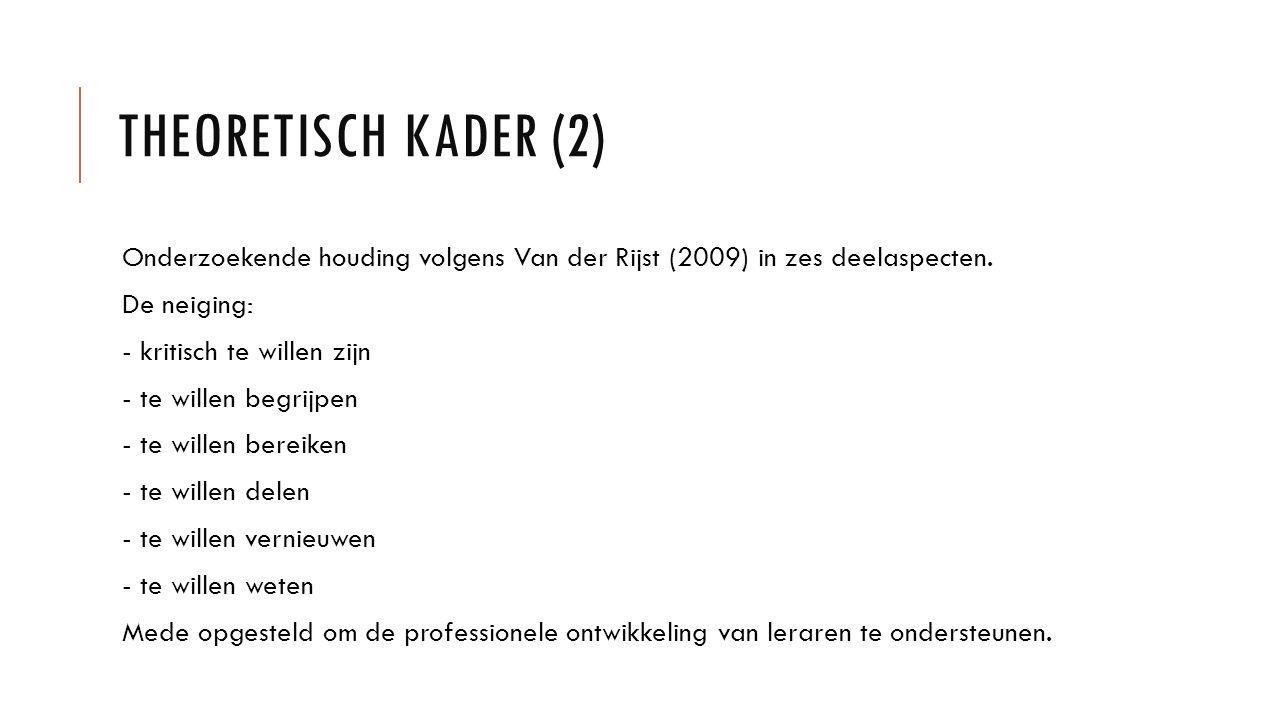 THEORETISCH KADER (2) Onderzoekende houding volgens Van der Rijst (2009) in zes deelaspecten. De neiging: - kritisch te willen zijn - te willen begrij