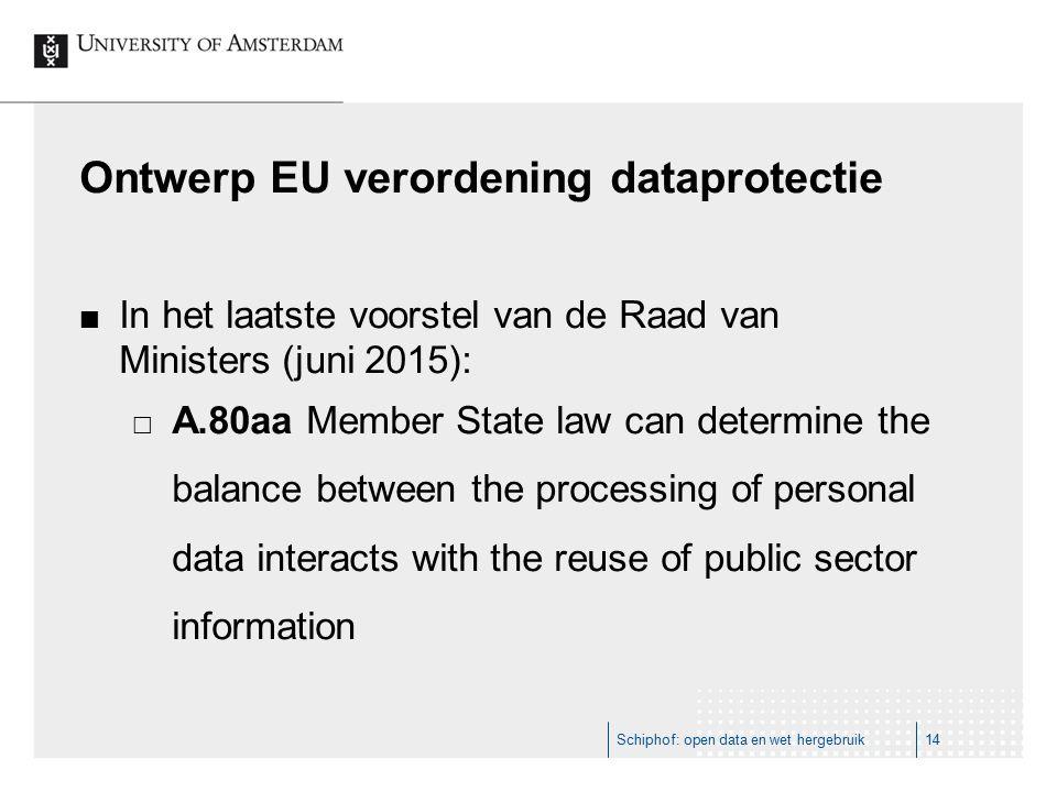 Ontwerp EU verordening dataprotectie In het laatste voorstel van de Raad van Ministers (juni 2015):  A.80aa Member State law can determine the balance between the processing of personal data interacts with the reuse of public sector information Schiphof: open data en wet hergebruik14