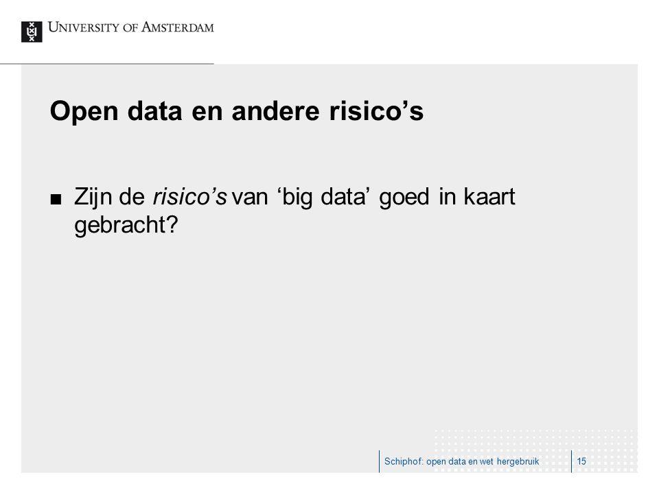 Open data en andere risico's Zijn de risico's van 'big data' goed in kaart gebracht? Schiphof: open data en wet hergebruik15
