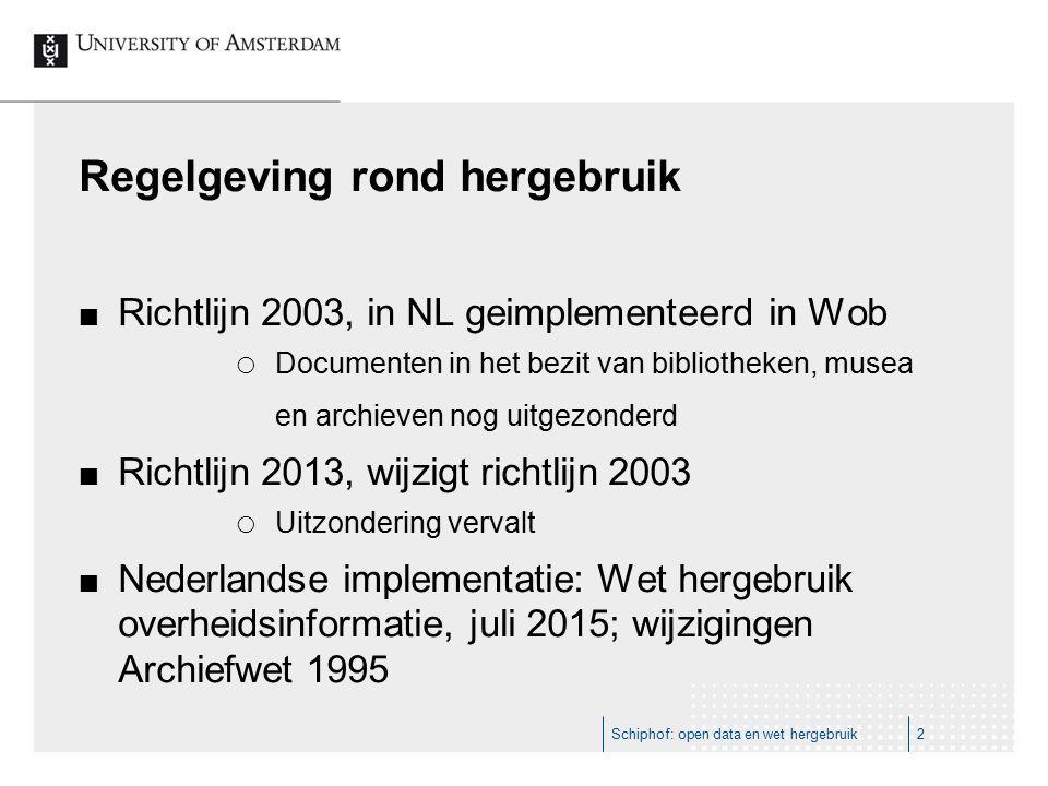 Regelgeving rond hergebruik Richtlijn 2003, in NL geimplementeerd in Wob  Documenten in het bezit van bibliotheken, musea en archieven nog uitgezonderd Richtlijn 2013, wijzigt richtlijn 2003  Uitzondering vervalt Nederlandse implementatie: Wet hergebruik overheidsinformatie, juli 2015; wijzigingen Archiefwet 1995 Schiphof: open data en wet hergebruik2