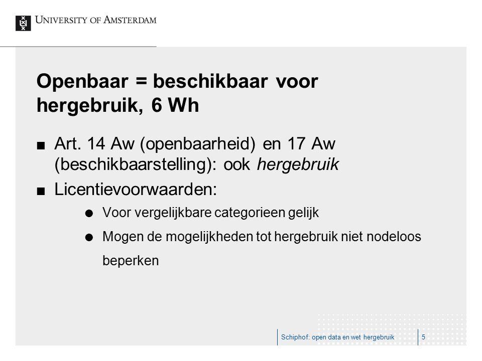 Openbaar = beschikbaar voor hergebruik, 6 Wh Art. 14 Aw (openbaarheid) en 17 Aw (beschikbaarstelling): ook hergebruik Licentievoorwaarden:  Voor verg