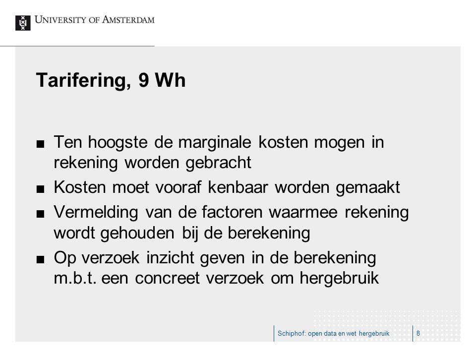 Tarifering, 9 Wh Ten hoogste de marginale kosten mogen in rekening worden gebracht Kosten moet vooraf kenbaar worden gemaakt Vermelding van de factoren waarmee rekening wordt gehouden bij de berekening Op verzoek inzicht geven in de berekening m.b.t.