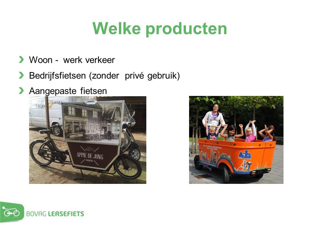 Welke producten Woon - werk verkeer Bedrijfsfietsen (zonder privé gebruik) Aangepaste fietsen