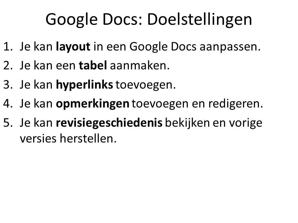 Google Docs: Doelstellingen 1.Je kan layout in een Google Docs aanpassen. 2.Je kan een tabel aanmaken. 3.Je kan hyperlinks toevoegen. 4.Je kan opmerki