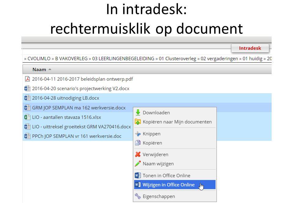 In intradesk: rechtermuisklik op document