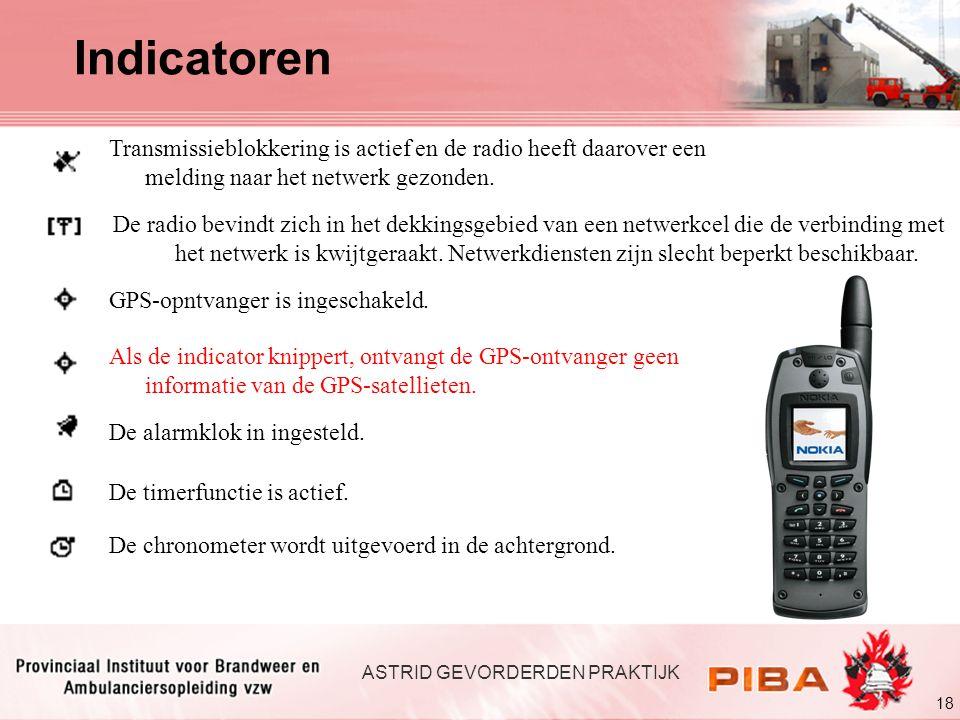 18 ASTRID GEVORDERDEN PRAKTIJK Transmissieblokkering is actief en de radio heeft daarover een melding naar het netwerk gezonden. De radio bevindt zich