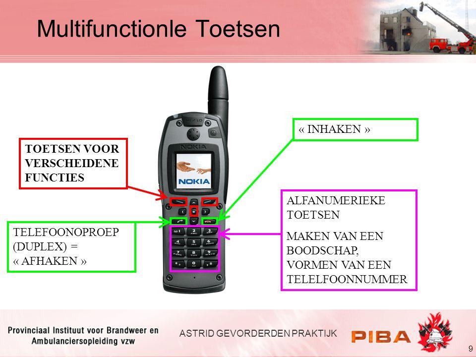 9 ASTRID GEVORDERDEN PRAKTIJK TOETSEN VOOR VERSCHEIDENE FUNCTIES TELEFOONOPROEP (DUPLEX) = « AFHAKEN » « INHAKEN » Multifunctionle Toetsen ALFANUMERIE