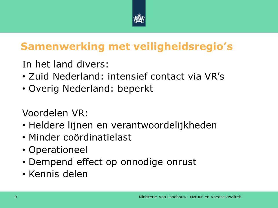 Ministerie van Landbouw, Natuur en Voedselkwaliteit 9 Samenwerking met veiligheidsregio's In het land divers: Zuid Nederland: intensief contact via VR
