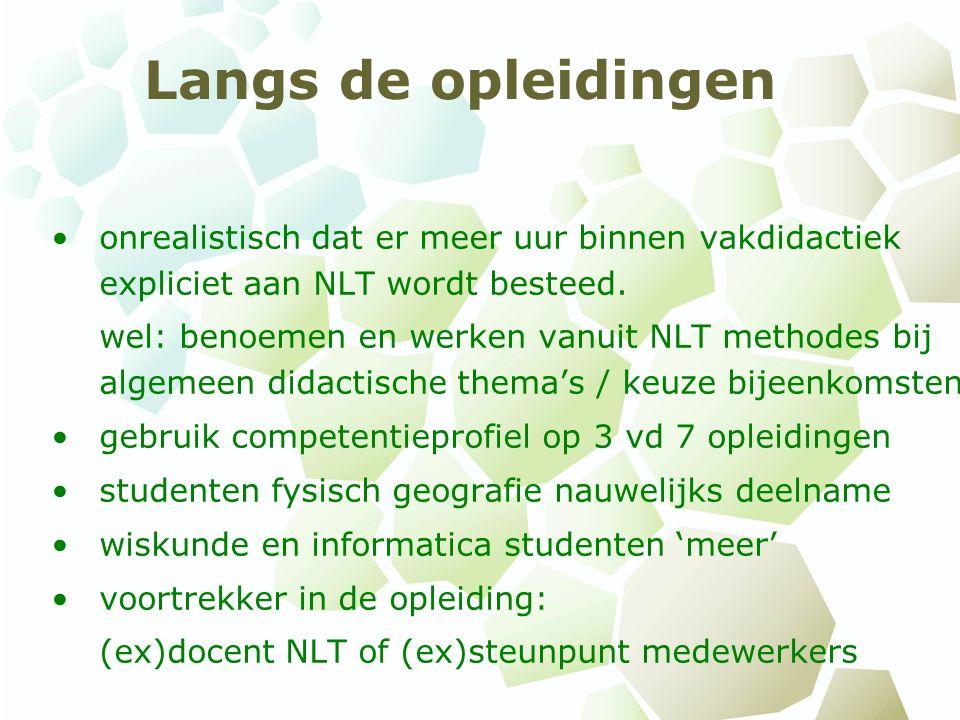 Langs de opleidingen onrealistisch dat er meer uur binnen vakdidactiek expliciet aan NLT wordt besteed.