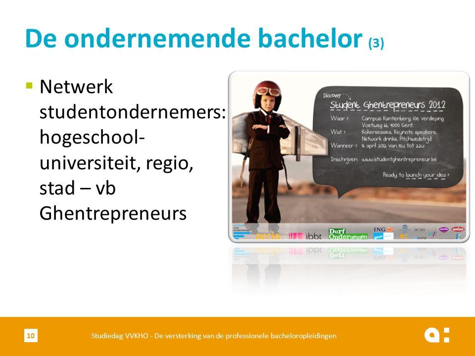  Netwerk studentondernemers: hogeschool- universiteit, regio, stad – vb Ghentrepreneurs De ondernemende bachelor (3) Studiedag VVKHO - De versterking van de professionele bacheloropleidingen10